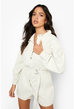 Stone beige Utility Pocket Denim Romper