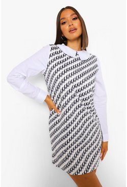 Black Printed Contrast Collar Shift Dress
