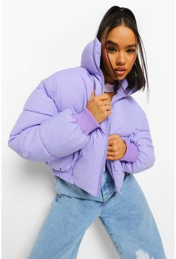 Lilac purple Funnel Neck Puffer Jacket