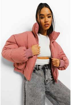 Dusky pink Funnel Neck Puffer Jacket