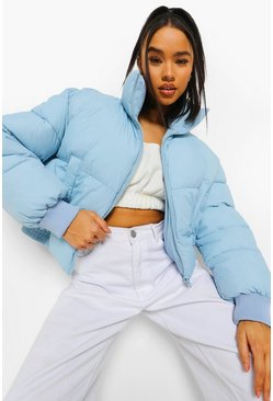 Pale blue blue Funnel Neck Puffer Jacket