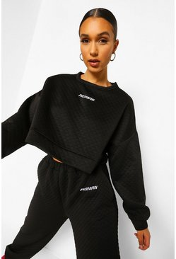 Black Woman Embroidery Waffle Cropped Sweatshirt