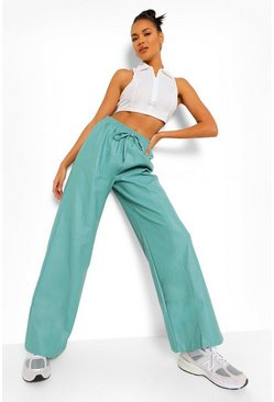 Turquoise blue Wide Leg Pu Piping Detail Luxe Jogger