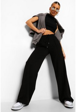 Black Piping Detail Wide Leg Woven Jogger