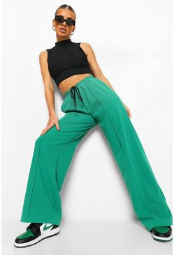 Green Geweven Wide Leg Joggingbroek Met Biezen