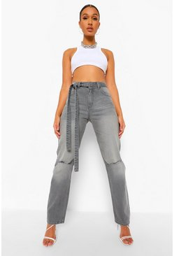 Charcoal grey Mid Rise Busted Knee Boyfriend Jeans With Belt