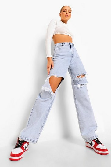 Bleach wash Boyfriend Jeans With Busted Knees