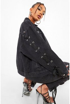 Washed black Lace Up Sleeve Detail Oversized Denim Jacket