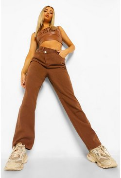 Choc brown Asymmetric Fastening Straight Leg Jeans