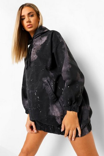 Black Tie Dye Denim Hooded Dress With Paint Splatter
