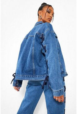 Mid blue blue Lace Up Sleeve Detail Oversized Denim Jacket