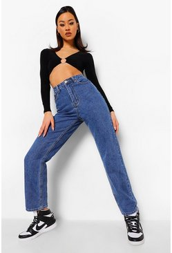 Mid blue blue Straight Leg Bum Rip Jeans With Print