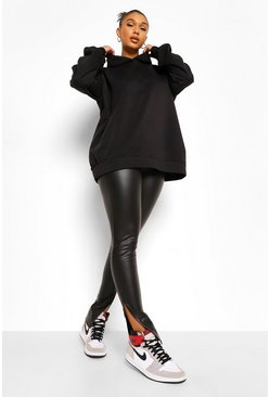 Black Split Hem Leather Look Pu Leggings