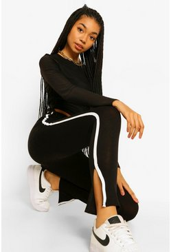 Black Side Stripe Split Hem Leggings
