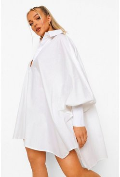 White Oversized Batwing Balloon Sleeve Shirt Dress