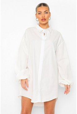 White Balloon Split Sleeve Overshirt Shirt Dress