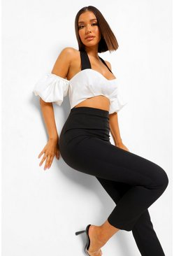 Black Halterneck Cut Out Puff Sleeve Jumpsuit