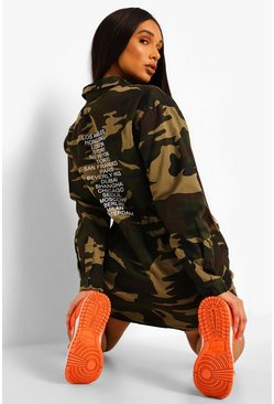 Khaki Camo Pocket Drail Zi Up Shirt Dress