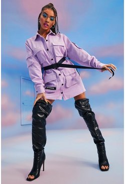 Lilac purple Utility Belted Official Cord Shirt Dress