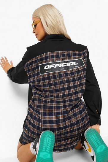 Black Oversized Check Paneled Official Shirt Dress