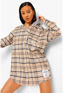 Stone beige Patch Print Oversized Hooded Check Shirt Dress