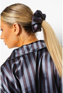 Black Tonal Stripe Satin Scrunchie