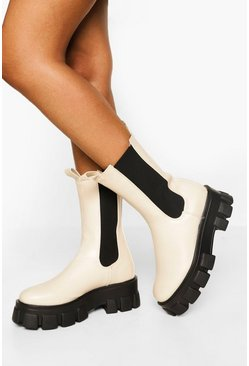 Ecru white Wide Fit Chunky Cleated Sole Chelsea Boots