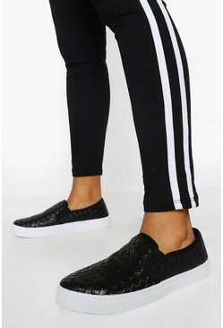 Black Woven Basic Slip On Skaters