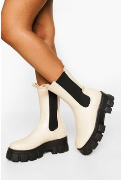 Ecru white Chunky Cleated Sole Chelsea Boots