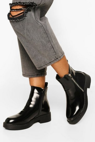 Black Patent Zip Detail Chunky Chelsea Boots
