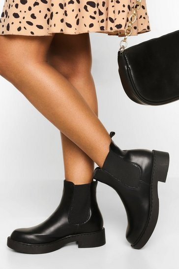 Black Pull On Chunky Chelsea Boots