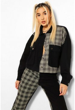 Black Check Contrast Oversized Denim Jacket