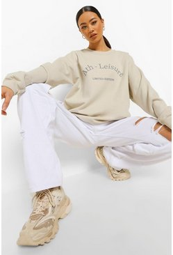 Ecru white Oversized Ath-leisure Sweatshirt