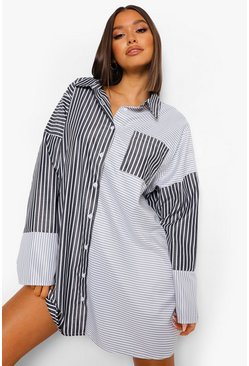Black Mixed Stripe Oversized Shirt Dress