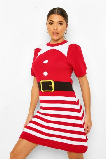 Red Mrs Elf Novelty Christmas Jumper Dress
