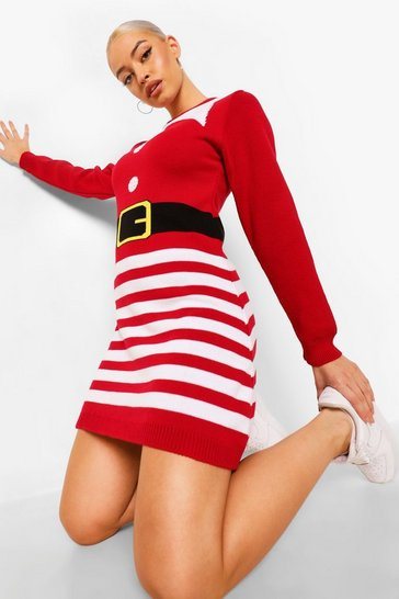 Red Mrs Claus Novelty Christmas Jumper Dress