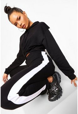 Black Her Side Panel Contrast Rib Hooded Tracksuit
