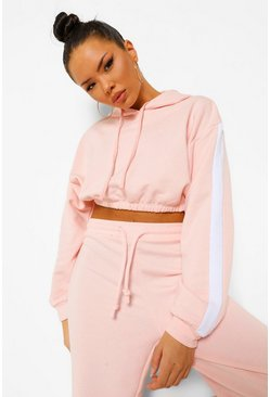 Dusky pink pink Her Side Panel Contrast Rib Hooded Tracksuit