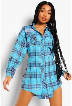 Blue Official Check Corset Shirt Dress