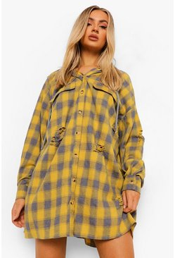 Mustard yellow Distressed Check Oversized Hooded Shirt Dress