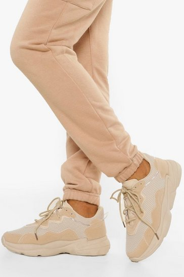 Stone beige Mesh Panel Chunky Sole Trainers