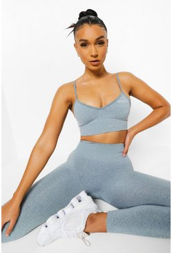 Blue Seamfree Marl Sports Bra