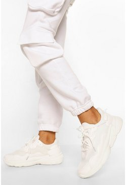Mesh Panel Chunky Sole Trainers, White bianco