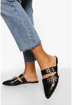 Black Double Buckle Detail Croc Loafers