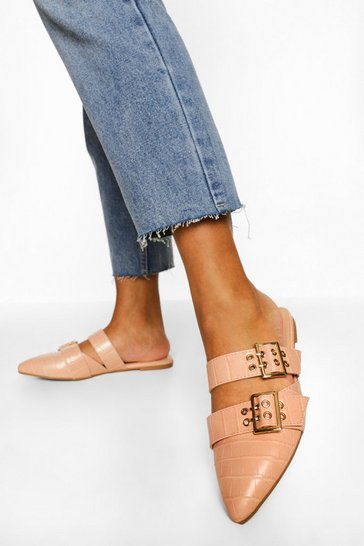 Nude Double Buckle Detail Croc Loafers