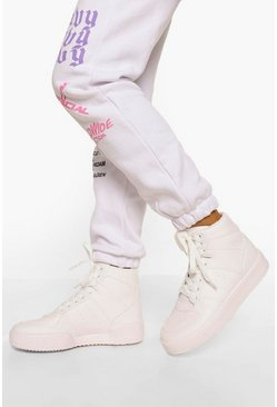 White High Top Lace Up Flat Trainers