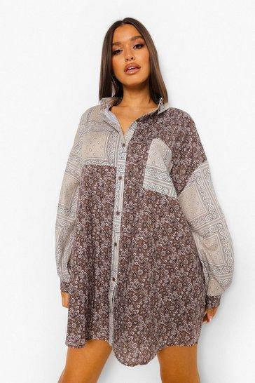 Chocolate brown Mixed Bandana Printed Shirt Dress
