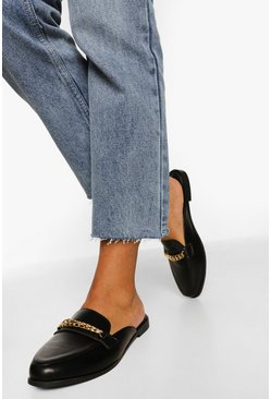 Black Chain Detail Mule Loafers