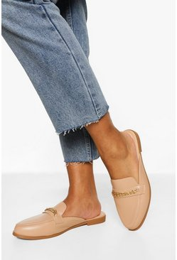 Nude Chain Detail Mule Loafers