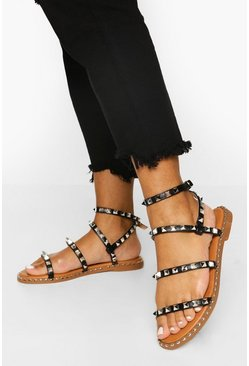 Black Studded Triple Strap Sandals